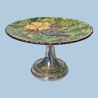 Large Jugendstil Hand Painted Floral Majolica and Silver Plate Centerpiece Germany C.1900