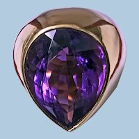 1970's 18K Amethyst large Ring.