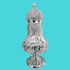 Large antique silver sugar caster, London 1899, William Gibson