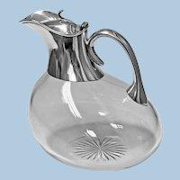 Rare Antique Silver and Glass Askos shape Claret Jug, London 1895