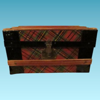 Wonderful old doll trunk trimmed in plaid