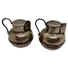 Mexican Sterling Figural Salt and Pepper Water Jugs, Los Ballesteros