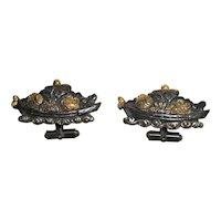 Cuff links mixed metals Japanese menuki treasure ships 19th c.