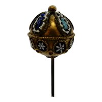 Mosaic Hatpin Gilt Ball shape