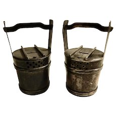 Sterling Silver Salt and Pepper Figural Water Buckets Japanese