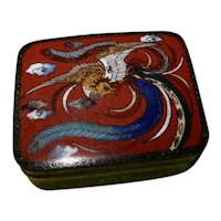 Japanese Cloisonne' Small Box Phoenix Bird