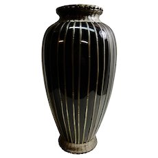 Japanese Pottery Vase with Silver Basket Weave