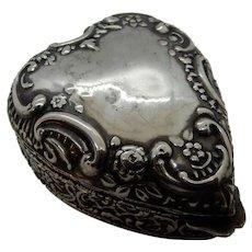 Sterling Silver Heart Trinket Box 1902