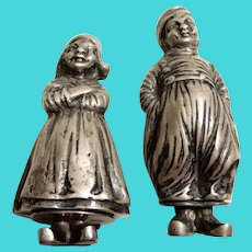 Silver Figural Salt and Pepper Dutch Children Netherlands