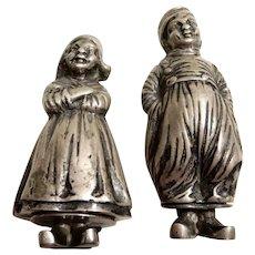 Silver Figural Salt and Pepper Dutch Children Netherlands
