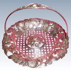 Silver Bonbon Basket Reticulated European 800