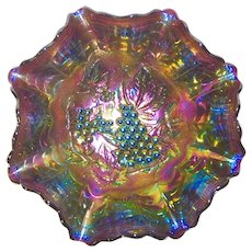 Carnival Glass 11 in. Imperial Grapes Bowl fabulous color