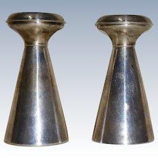 Sterling Silver Salt & Pepper Mid Century Modern Shape