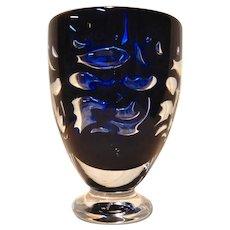 Orrefors Studio 2001 Cobalt Blue Vase Jan Johansson