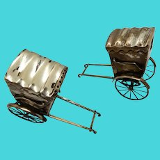 Japanese Figural Salt and Peppers Sterling Taxi Chairs