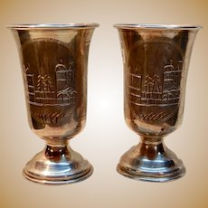 Russian Silver Pair Vodka Cups c.1910