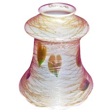 Quezal Art Glass Shade Hearts and Threads