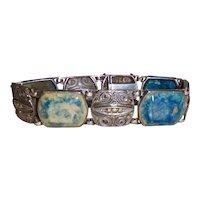 Lapis Marcasite Art Deco Bracelet