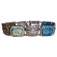 Lapis Marcasite Art Deco Bracelet, Great with denim