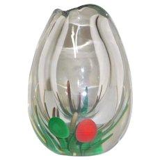 Unique Kosta Art Glass Vase Internal decoration 1960's