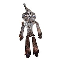 Large Sterling Clown Pin Articulated, Mexican hand made