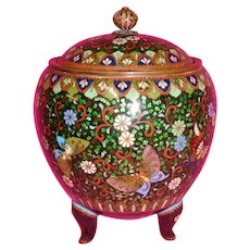 Japanese Cloisonné Large Covered Jar Butterflies