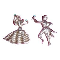 Sterling Pins Pair of Flamenco Dancers Vintage