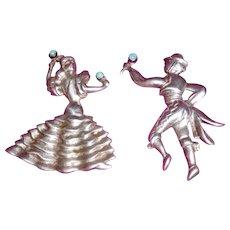 Sterling Pins Pair of Flamenco Dancers Vintage