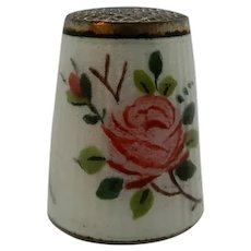Norway Enamel Sterling Thimble with Roses