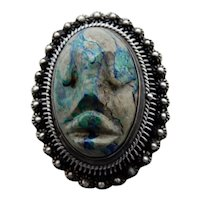 Mexican Stone Head Sterling Silver Locket Pin Pendant