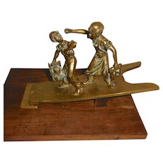 Bronze Desk Paperclip Shoeshine Boys on Boot Jack