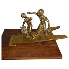 Bronze Desk Paperclip Shoeshine Boys on Boot Jack
