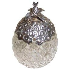 Sterling Top Glass Jam Jar Figural Pineapple, Sugar bowl