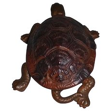 Cast Iron Turtle Inkwell Match Striker Combo