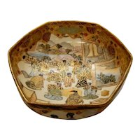 Satsuma Pottery Bowl People in Courtyard Late 19th c.