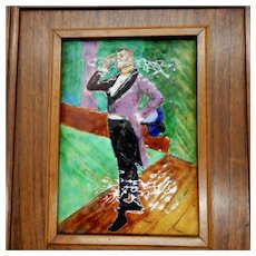 Limoges Enamel on Copper Painting by Toulouse Lautrec