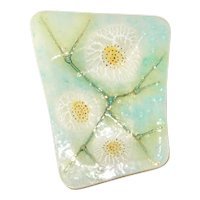 Higgins Art Glass Tray Fried Eggs design