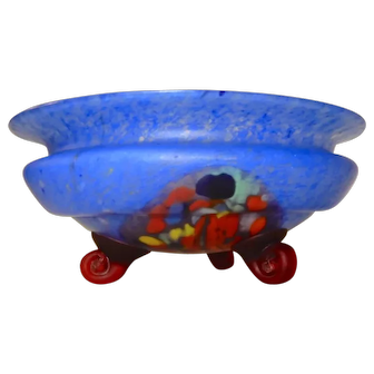 Czech art Glass footed bowl Colorful