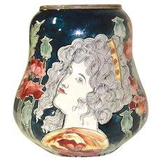 Royal Bonn Art Nouveau Vase Portrait Woman and Poppies