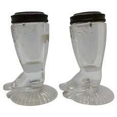 Boot and Shield Figural Salt shakers EAPG Historical Glass