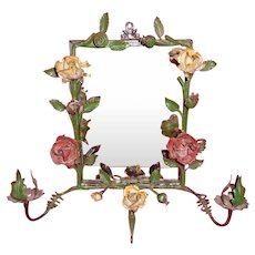 Wrought Iron Roses Sconce Wall Mirror