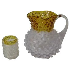 Toy Glass Hobbs Francesware Pitcher and Tumbler