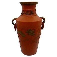 Tokoname Japanese Redware Dragon Vase