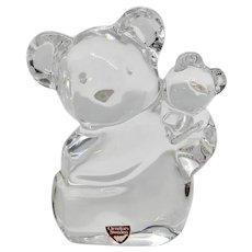 Teddy Bear and Cub Orrefors Crystal
