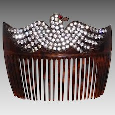 Antique Hair Comb Rhinestone Eagle on Celluloid