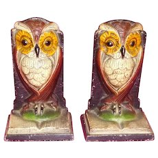 Cast Iron Bookends Hubley Owl on Book Colorful