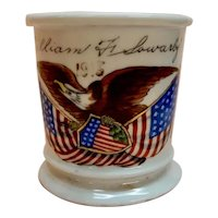Shaving Mug dated 1915 American Eagle Flags