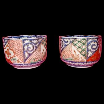 Imari Tea Bowls Pair 19th century