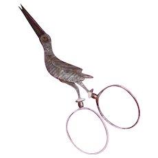 Sewing Scissors Bird Form Early Steel