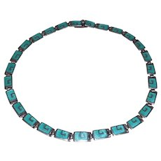 Mexican Sterling Enamel Choker Margot de Taxco
